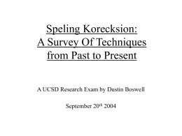 Speling Korecksion: A Survey Of Techniques from Past to