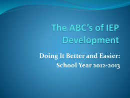 The ABC's of IEP Development