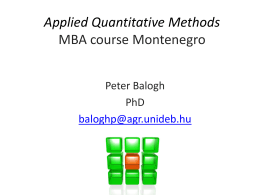 Applied Quantitative Methods I. MBA course Montenegro