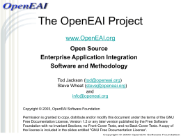 The OpenEAI Project - 4 Hour Presentation