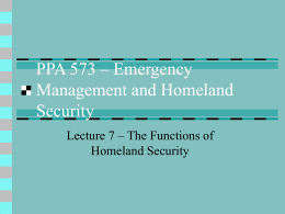 PPA 573 – Emergency Management and Homeland …