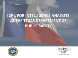 IDP's FOR INTELLIGENCE ANALYSTS AT THE DEPARTMENT …