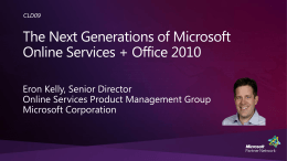 CLD09: The Next Generations of Microsoft Online Services