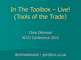In The Toolbox – Live! (Tools of the Trade)
