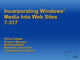 Incorporating Windows Media into Web Sites
