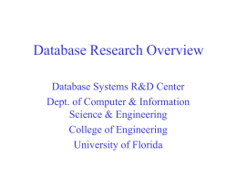 Database Center Research Overview