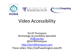 Video Accessibility - University of Washington