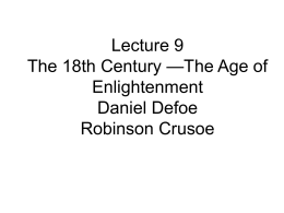 Lecture 9 The 18th Century —The Age of Enlightenment
