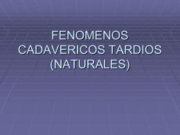 FENOMENOS CADAVERICOS TARDIOS (NATURALES)