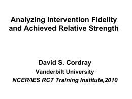 Assessing Intervention Fidelity in RCTs: Concepts and …