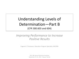 Levels of Determination Improving Performance to …