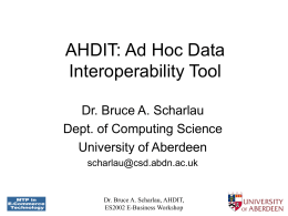 Ad Hoc Interoperability - University of Aberdeen