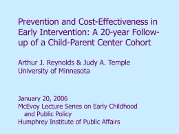 Prevention and Cost Effectiveness in Early Childhood