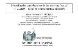 Mental health considerations in the evolving face of HIV