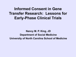 Ethics in Gene Transfer Research