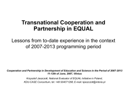 Methodology of evaluation of transnational cooperation
