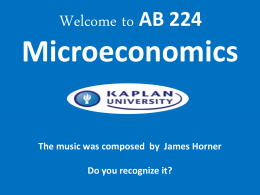 Welcome to BU204 -Macro Economics – Unit 1