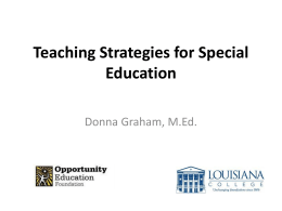 Teaching Stratagies for Special Education
