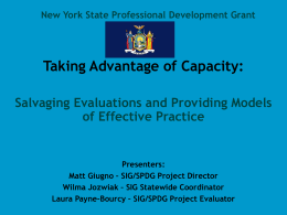 The New York State School Improvement Grant Initiative