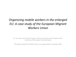 Organizing mobile workers in the enlarged EU: A case …