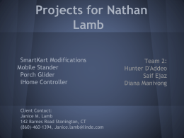 Projects for Nathan Lamb - University of Connecticut