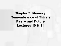 Chapter 7: Memory: Remembrance of Things Past – and …