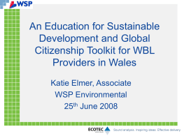 An Introduction to ESDGC Toolkit for Work Based Providers