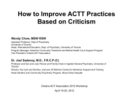 Mount Sinai ACTT in Practices and Actions