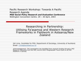 Utilising Fa'asamoa alongside Western Research …