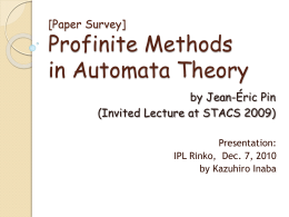 [Paper Survey] Profinite Methods in Automata Theory