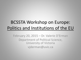 BCSSTA Conference on the EU: European Union Politics