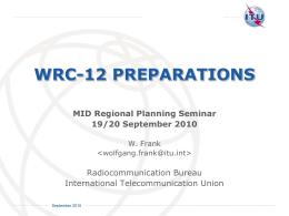 WRC-12 Regional Planning Seminar Presentation: