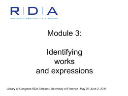 RDA Test at LC Module 3: Works and Expressions