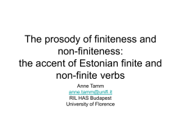 The prosody of finiteness and non