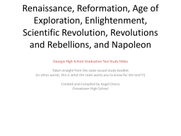 Renaissance, Age of Exploration, Enlightenment, Scientific