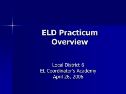 Title III Initiative: ELD Practicum