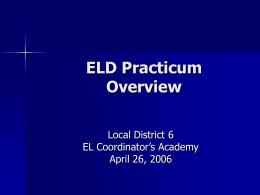 Title III Initiative: ELD Practicum