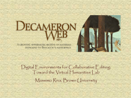 The SGML Encoding of Boccaccio's Decameron: