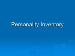 Personality Inventory - University of California, Irvine