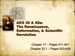 AKS 38 & 42a: The Renaissance, Reformation, & Scientific