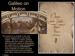 Galileo on Motion - University of Notre Dame