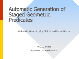 Automatic Generation of Staged Geometric Predicates