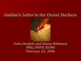 Robinson and Henkels on Galileo's Letter to the Grand …
