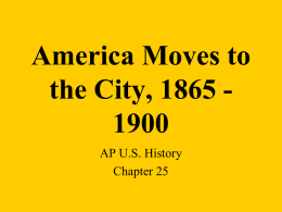 America Moves to the City, 1865