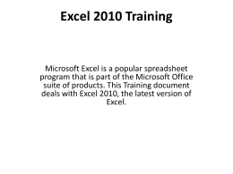 Excel 2010 Training