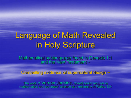 Language of Math Revealed in Holy Scripture
