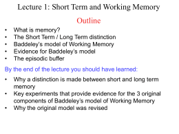 Lecture 1: Short Term and Working Memory Outline