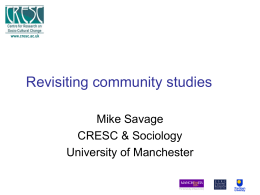 Revisiting community studies