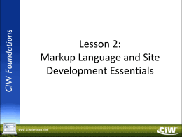 Lesson 2: Markup Language and Site Development Essentials