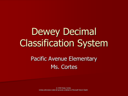 Dewey Decimal System - Website & Collaboration …